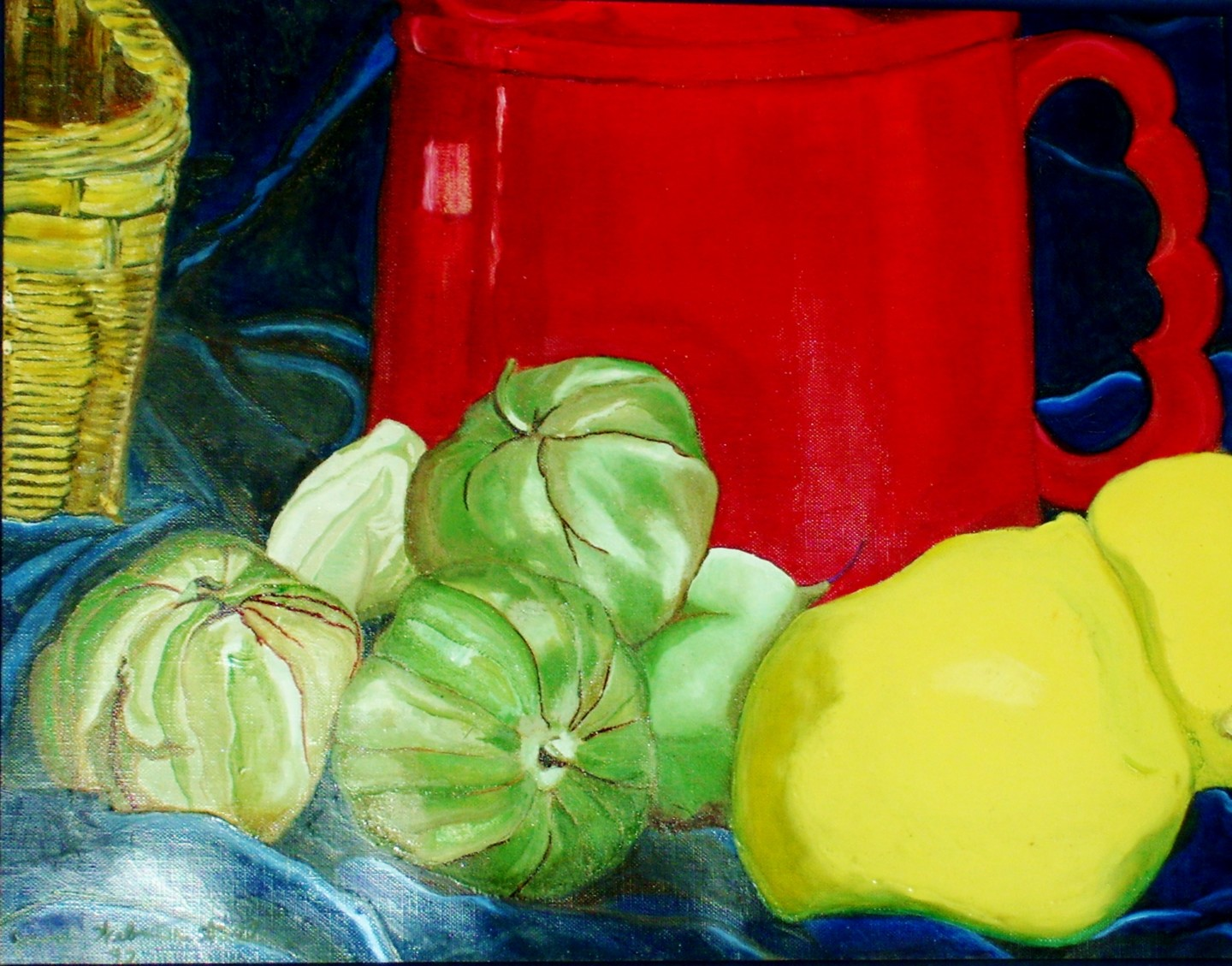 Jan Wall - Red Mug with Tomatilloes